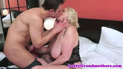 Busty granny in thongs gets double fucked