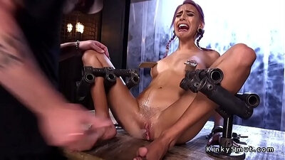 bdsm slave fisted and fucked and squirt on the couch quickly