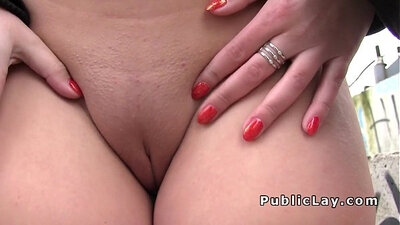 Babes flash asses at public street and round butler