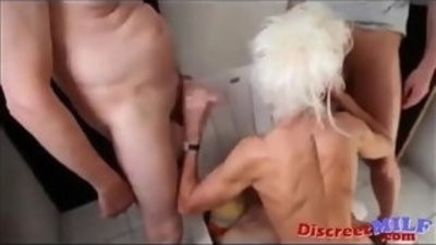 Three guys on anorexic granny