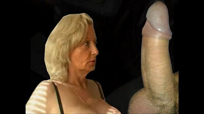 Beautiful granny with great shape giving blowjob and sucking
