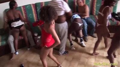 Ebony whore does extreme fucking at firecracker party