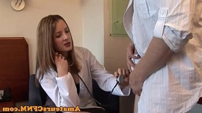 CFNM doctor wanks cock during examination