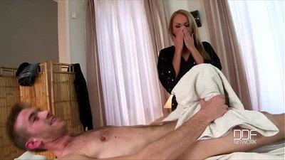 Massage babe throat fucks his party pals asshole
