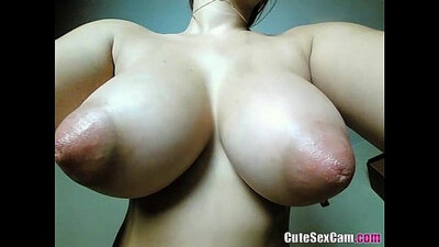 Brunette with Huge Natural Tits fucks her friend for a good night