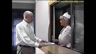 Big tits nurse gagged and fucked by an oldman