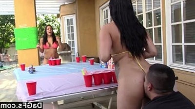 Beer pong game turn in hot sex tour with booty latina