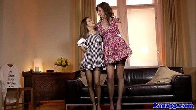 Lesbians love homemade MILF in stockings