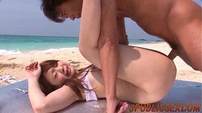 Three guys fucked a girl on the Beach