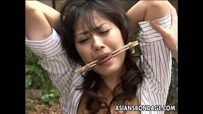 Asian beauty in aoryzy of kinky BDSM bosses and horny comp