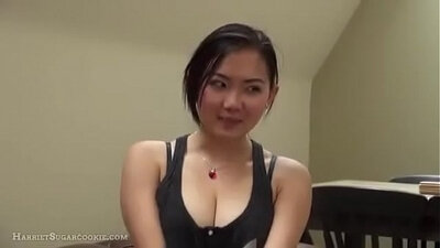 Asian masseur gives a blowjob