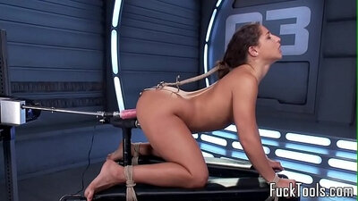 Sex machine and toy babe being pussy and ass toyed